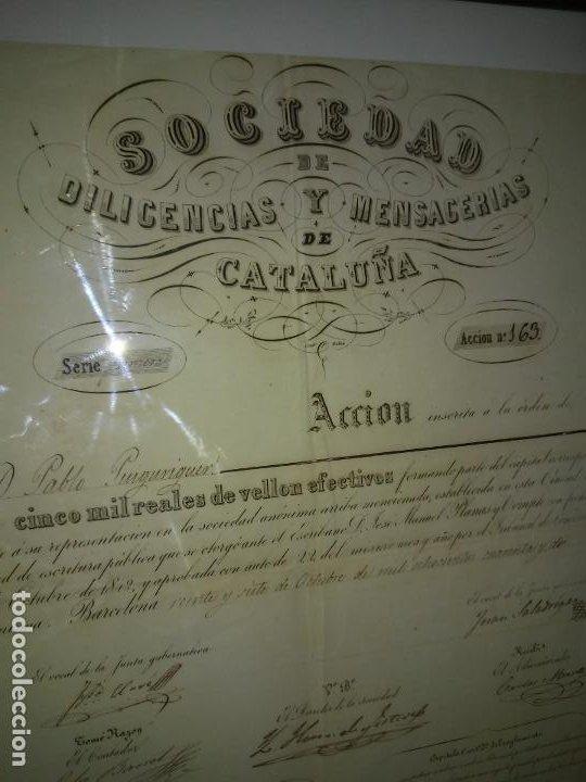 Coleccionismo Acciones Españolas: ACCION SOCIEDAD DE DILIGENCIAS Y MENSAGERIAS DE CATALUÑA - AÑO 1842 - EXCEPCIONAL RAREZA. - Foto 3 - 195371025