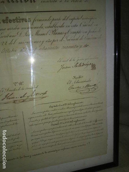 Coleccionismo Acciones Españolas: ACCION SOCIEDAD DE DILIGENCIAS Y MENSAGERIAS DE CATALUÑA - AÑO 1842 - EXCEPCIONAL RAREZA. - Foto 5 - 195371025