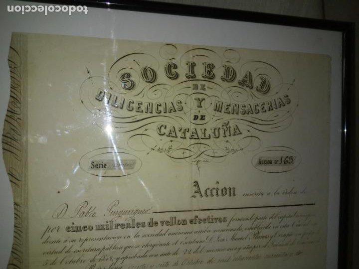 Coleccionismo Acciones Españolas: ACCION SOCIEDAD DE DILIGENCIAS Y MENSAGERIAS DE CATALUÑA - AÑO 1842 - EXCEPCIONAL RAREZA. - Foto 6 - 195371025