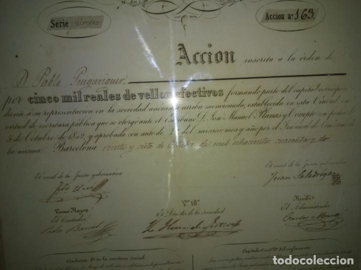 Coleccionismo Acciones Españolas: ACCION SOCIEDAD DE DILIGENCIAS Y MENSAGERIAS DE CATALUÑA - AÑO 1842 - EXCEPCIONAL RAREZA. - Foto 7 - 195371025