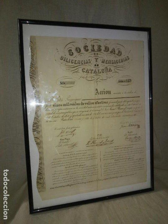RESERVADO.ACCION SOCIEDAD DE DILIGENCIAS Y MENSAGERIAS DE CATALUÑA - AÑO 1842 - EXCEPCIONAL RAREZA. (Coleccionismo - Acciones Españolas)