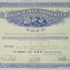 Coleccionismo Acciones Españolas: VINOS Y AGUARDIENTES SOCIEDAD ANÓNIMA, MADRID (1945). Lote 195425148