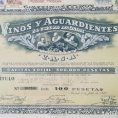 Coleccionismo Acciones Españolas: VINOS Y AGUARDIENTES SOCIEDAD ANÓNIMA, MADRID (1940). Lote 195425293