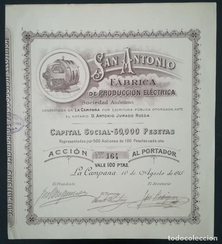 SAN ANTONIO FÁBRICA DE PRODUCCIÓN ELÉCTRICA, LA CAMPANA - SEVILLA (1915) (Coleccionismo - Acciones Españolas)