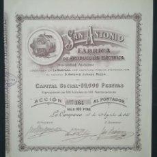 Coleccionismo Acciones Españolas: SAN ANTONIO FÁBRICA DE PRODUCCIÓN ELÉCTRICA, LA CAMPANA - SEVILLA (1915). Lote 195426295
