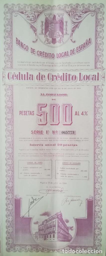 BANCO DE CRÉDITO LOCAL DE ESPAÑA, MADRID (1944) (Coleccionismo - Acciones Españolas)