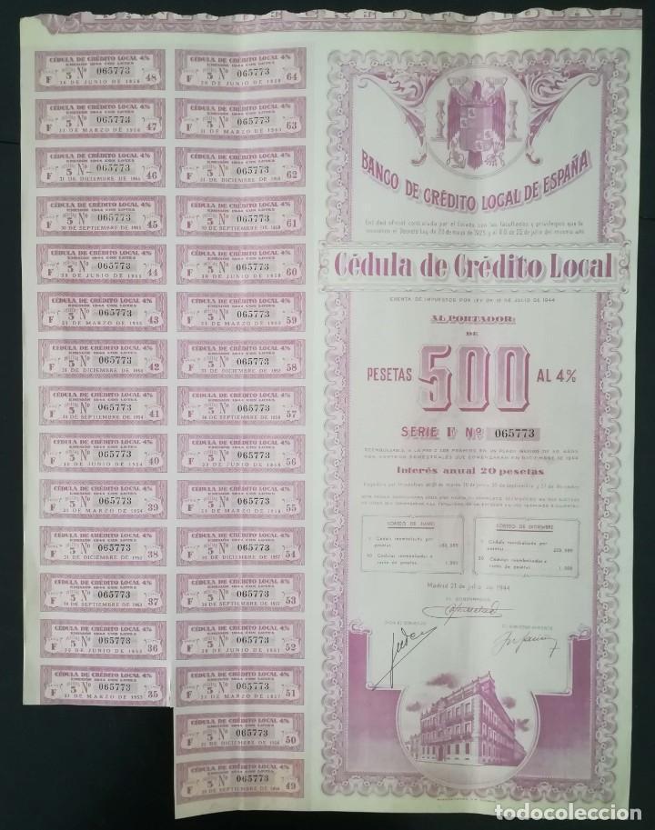 Coleccionismo Acciones Españolas: Banco de Crédito local de España, Madrid (1944) - Foto 2 - 195427415