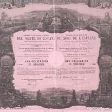 Coleccionismo Acciones Españolas: FERROCARRILES: COMPAÑÍA DE LOS CAMINOS DE HIERRO DEL NORTE DE ESPAÑA (1870). Lote 195428217