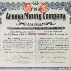 Coleccionismo Acciones Españolas: THE ARNOYA MINING COMPANY LIMITED - COMPAÑÍA MINERA DE ARNOYA, ORENSE / LUGO (1907) 5 ACCIONES. Lote 195428448