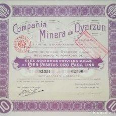 Coleccionismo Acciones Españolas: COMPAÑÍA MINERA DE OYARZUN (1913). Lote 195429363