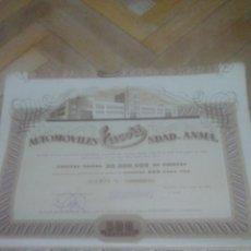 Coleccionismo Acciones Españolas: SOCIEDAD DE AUTOMOVILES EUCORT SA. CON TODOS LOS CUPONES. MUY RARA.. BARCELONA 1946.. Lote 195596806