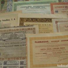 Collezionismo Azioni Spagnole: COLECCIÓN DE 18 ACCIONES ESPAÑOLAS - DIFERENTES AÑOS - RIF, FLAMAGAS, HULLERA, VALORES -SALIDA 0,01€. Lote 195762228