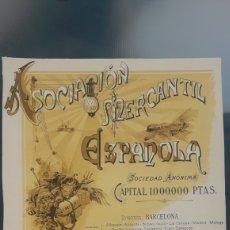 Coleccionismo Acciones Españolas: ASOCIACIÓN MERCANTIL ESPAÑOLA (BARCELONA). Lote 196290320