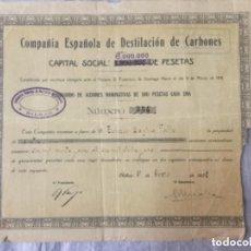 Coleccionismo Acciones Españolas: COMPAÑIA ESPAÑOLA DE DESTILACION DE CARBONES - BILBAO 1928 - ACCION #354 - 500 PESETAS - 28X24CM. Lote 196516166