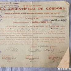 Coleccionismo Acciones Españolas: LA ARGENTIFERA DE CORDOBA - 1922 - BONOS AMORTIZABLES DE 250 PTAS. - 30X27CM. Lote 196516438
