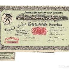 Collezionismo Azioni Spagnole: FÁBRICA DE PINTURAS Y BARNICES - MACHIMBARRENA Y MOYÚA S.A. - BILBAO 1922.. Lote 197030120