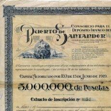 Colecionismo Ações Espanholas: CONSORCIO PARA EL DEPÓSITO FRANCO DEL PUERTO DE SANTANDER, 1924, 10 OBLIGACIONES, FIRMAS ORIGINALES. Lote 197360000