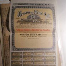 Coleccionismo Acciones Españolas: BANCO DE ELDA ALICANTE 1933 NUEVA ACCIÓN DE 500 PESETAS. Lote 198395013