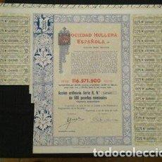 Coleccionismo Acciones Españolas: ACCIÓN ANTIGUA DE LA SOCIEDAD HULLERA ESPAÑOLA DE 1976 CON CUPONES. Lote 198679745