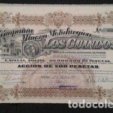 Coleccionismo Acciones Españolas: ACCIÓN ANTIGUA DE LA COMPAÑIA MINERO-METALÚRGICA LOS GUINDOS DE 1920. Lote 198679856