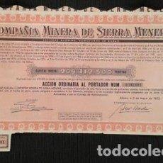Coleccionismo Acciones Españolas: ACCIÓN ANTIGUA DE LA COMPAÑIA MINERA DE SIERRA MENERA DE 1975. Lote 198679945