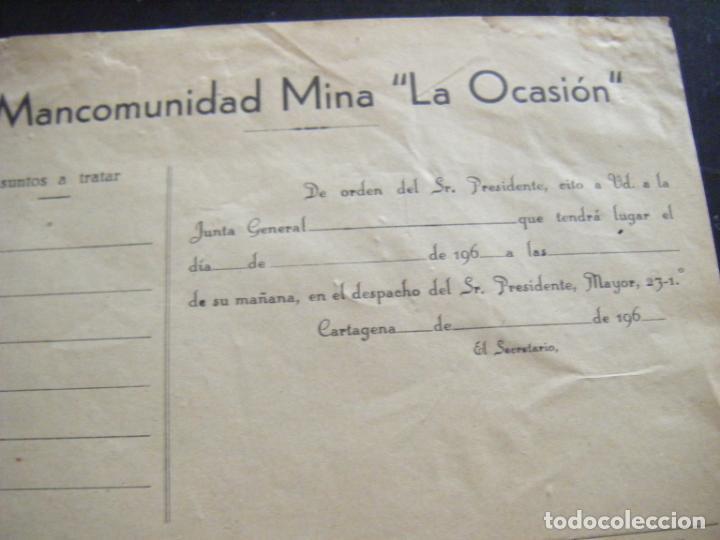 Coleccionismo Acciones Españolas: JML ACCION SOCIEDAD MINAS MINERA MURCIA MANCOMUNIDAD MINA LA OCASIÓN DOCUMENTO INTONSO AÑOS 1960 VER - Foto 2 - 198706205