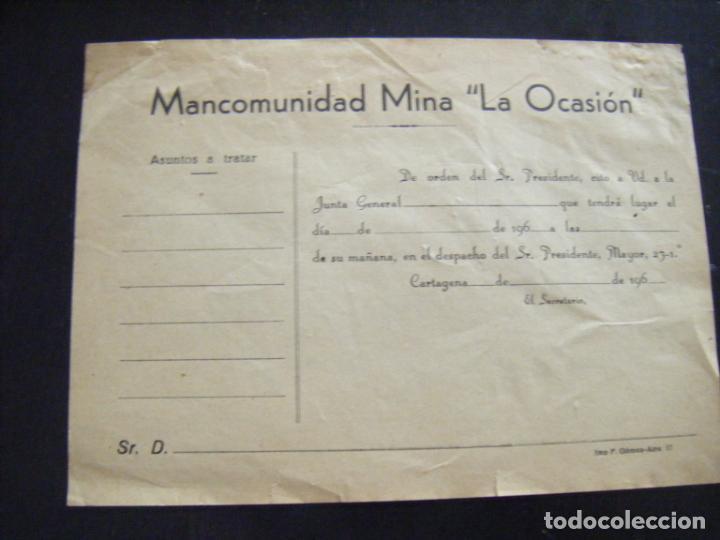 JML ACCION SOCIEDAD MINAS MINERA MURCIA MANCOMUNIDAD MINA LA OCASIÓN DOCUMENTO INTONSO AÑOS 1960 VER (Coleccionismo - Acciones Españolas)