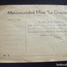 Coleccionismo Acciones Españolas: JML ACCION SOCIEDAD MINAS MINERA MURCIA MANCOMUNIDAD MINA LA OCASIÓN DOCUMENTO INTONSO AÑOS 1960 VER. Lote 198706205