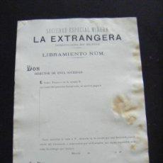 Coleccionismo Acciones Españolas: JML ACCIÓN MINAS MINERIA MURCIA SOCIEDAD ESPECIAL MINERA LA EXTRANGERA LIBRAMIENTO AÑOS 1800 ??. VER. Lote 198707202