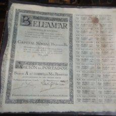 Coleccionismo Acciones Españolas: BELLAMAR. SEIX & BARRAL. BARCELONA, 1919. 29X32 CM.. Lote 198927885