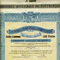 Coleccionismo Acciones Españolas: CARBONES MINERALES DE PORTALRUBIO. VALENCIA. AÑO 1918. ACCIÓN DE 1.000 PESETAS. Lote 288926498