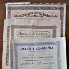 Coleccionismo Acciones Españolas: LOTE 3 ACCIONES ALCOY (ALICANTE): VERDÚ Y COMPAÑÍA, PAPELERAS REUNIDAS E HIJOS S. GARCÍA. Lote 199895627