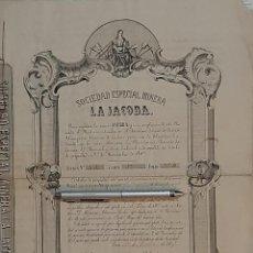 Coleccionismo Acciones Españolas: SOCIEDAD ESPECIAL MINERA LA JACOBA EN BARRANCO JAROSO DE SIERRA ALMAGRERA LORCA 1867 MURCIA ALMERIA. Lote 200598612