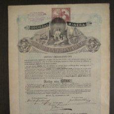 Coleccionismo Acciones Españolas: ACCION SOCIEDAD MINERA SAN JUAN Y SANTA ANA-MINAS JARABIA -ALMERIA-MADRID 1881-VER FOTOS-(V-19.468). Lote 201188813