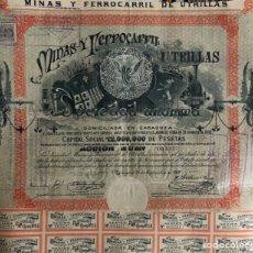 Coleccionismo Acciones Españolas: ESPLÉNDIDA ACCIÓN DEL AÑO 1902 DE LAS MINAS DE UTRILLAS LITOGRAFIA DE E PORTABELLA.. Lote 202355935