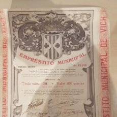 Coleccionismo Acciones Españolas: ACCION EMPRESTITO MUNICIPAL DE VICH. Lote 202473305