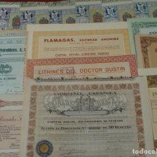 Collectionnisme Actions Espagne: COLECCIÓN DE 18 ACCIONES ESPAÑOLAS - DIFERENTES AÑOS - RIF, FLAMAGAS, HULLERA, VALORES -SALIDA 0,01€. Lote 203750481