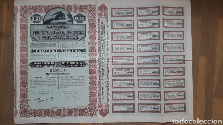 Coleccionismo Acciones Españolas: COMPAÑÍA DEL FERROCARRIL DE LA CAROLINA Y PROLONGACIONES (LINARES, JAÉN) 1927 - Foto 2 - 203938498