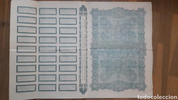 Coleccionismo Acciones Españolas: COMPAÑÍA DEL FERROCARRIL DE LA CAROLINA Y PROLONGACIONES (LINARES, JAÉN) 1927 - Foto 3 - 203938498