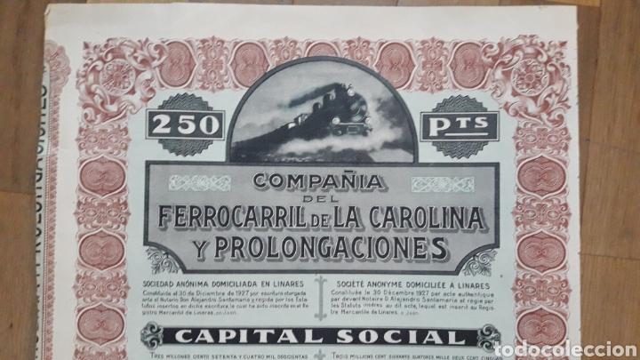 Coleccionismo Acciones Españolas: COMPAÑÍA DEL FERROCARRIL DE LA CAROLINA Y PROLONGACIONES (LINARES, JAÉN) 1927 - Foto 4 - 203938498