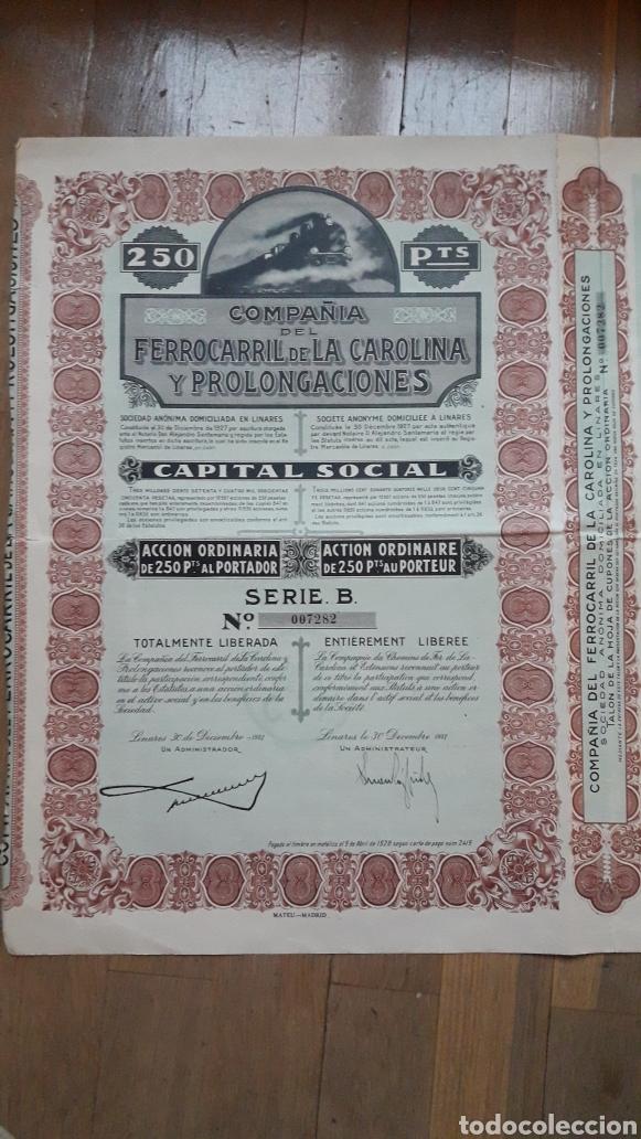 COMPAÑÍA DEL FERROCARRIL DE LA CAROLINA Y PROLONGACIONES (LINARES, JAÉN) 1927 (Coleccionismo - Acciones Españolas)