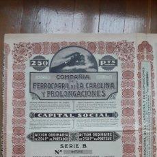 Coleccionismo Acciones Españolas: COMPAÑÍA DEL FERROCARRIL DE LA CAROLINA Y PROLONGACIONES (LINARES, JAÉN) 1927. Lote 203938498