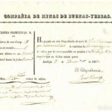 Coleccionismo Acciones Españolas: COMPAÑÍA DE MINAS DE BUENAS-YERBAS - PAGO DE REALES POR POSESIÓN DE ACCIONES - ANDÚJAR - JAEN - 1842. Lote 204595645