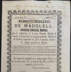 Coleccionismo Acciones Españolas: ACCIÓN MINERA MINERAL HIERRO - RECUERDO DE MADOLELL - PULPÍ - ALMERÍA - FECHADA EN ÁGUILAS AÑO 1876. Lote 204597101