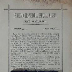 Coleccionismo Acciones Españolas: ACCIÓN DE LA SOCIEDAD PROPIETARIA ESPECIAL MINERA SAN JESUALDO MAZARRÓN MURCIA 1882. Lote 204614931