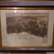Coleccionismo Acciones Españolas: ANTIGUO TÍTULO DE SOCIO DE LA ASOCIACIÓN GENERAL DE EMPLEADOS Y OBREROS DE LOS FERROCARRILES ESPAÑA. Lote 204644680