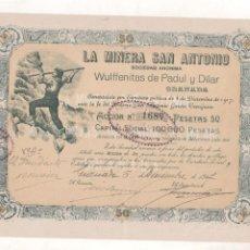 Collectionnisme Actions Espagne: LA MINERA DE SAN ANTONIO. SOCIEDAD ANÓNIMA. GRANADA. 1917. WULFFENITAS DE PADUL Y DILAR.. Lote 204647115