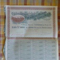 Collectionnisme Actions Espagne: ACCIÓN MINAS DE HIERRO DE CEHEGIN 1926 1000 PESETAS. Lote 204660185