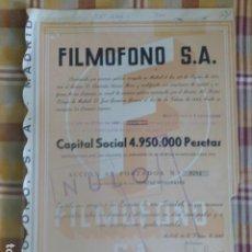 Coleccionismo Acciones Españolas: ACCIÓN FILMOFONO S.A. 1943 500 PESETAS. Lote 204661037