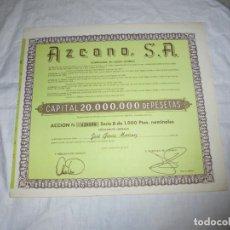 Coleccionismo Acciones Españolas: AZCANO S.A EN GIJON 1973 .....1000 PESETAS. Lote 204795127